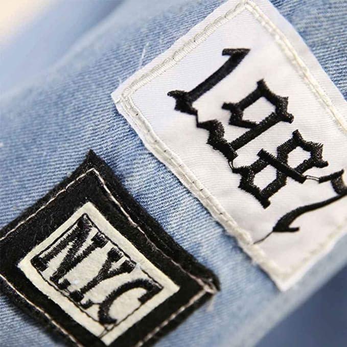 Amazon.com: Women Frayed Long Sleeve Letter Print Patch Denim Jacket Women Ripped Coat: Kitchen & Dining