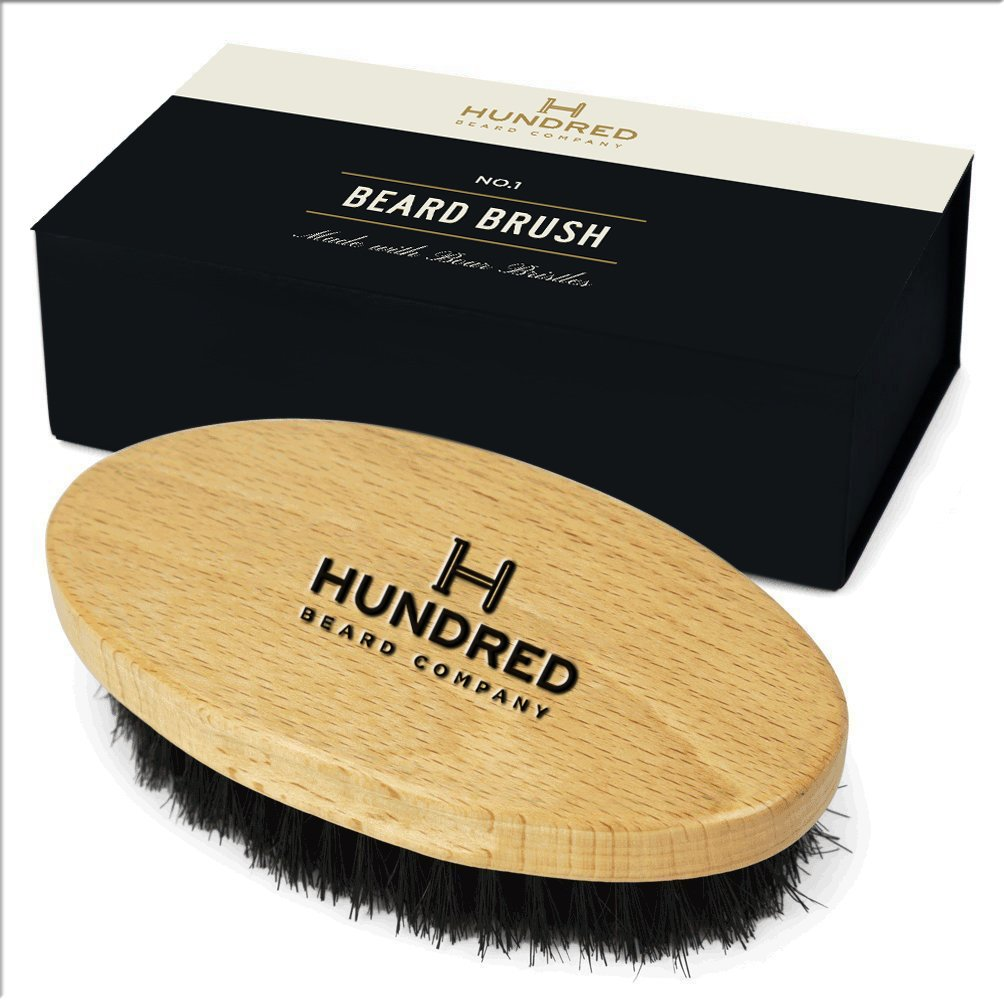Beard Brush | Pefect For Beard Balms and Oils | Natural, Soft Boar Hair | For Help Softening And Conditioning Itchy Beards | Packaged in Giftbox Hundred Beard Co.