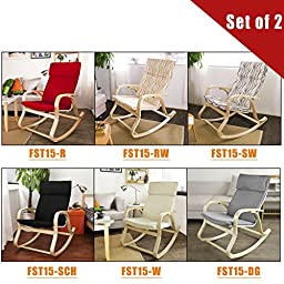 SoBuy Comfortable Relax Rocking Chair, Gliders, Lounge Chair with Cotton Fabric Cushion, FST15, Set of 2,IN ANY COLOR