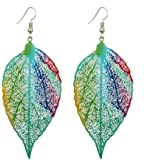 Afco Colorful Leaf Pendant Drop Hook Earrings Metal Hollow Statement Dangle Fashion Jewelry