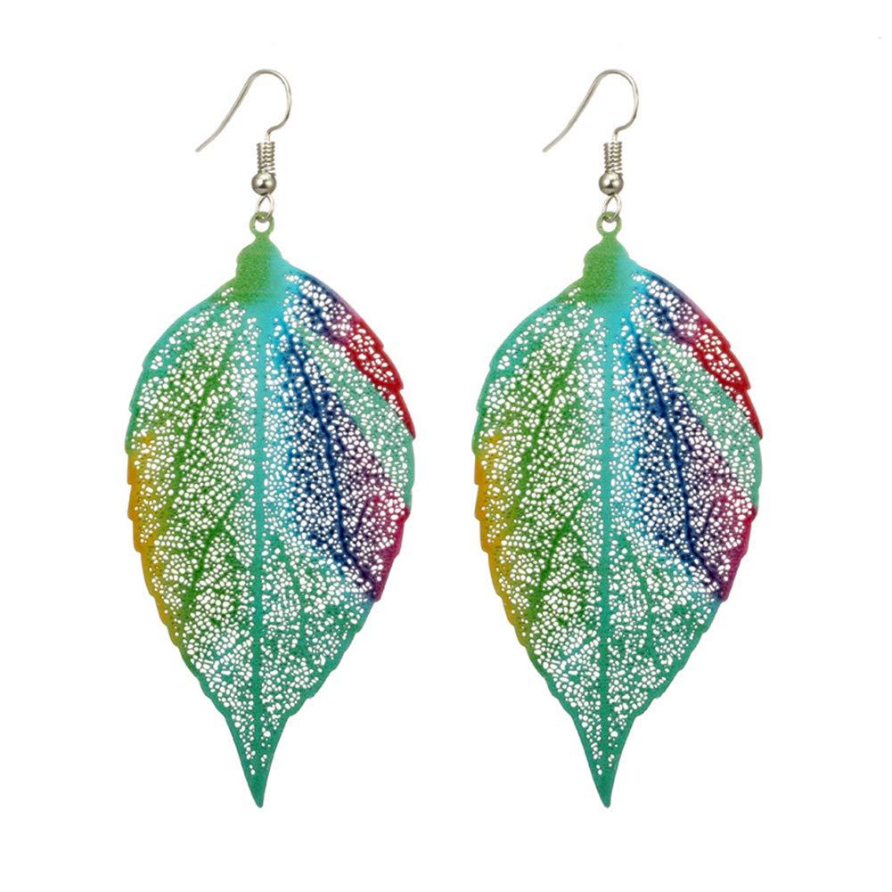 Colorful Leaf Pendant Drop Hook Earrings Metal Hollow Statement Dangle Fashion Jewelry (Blue)