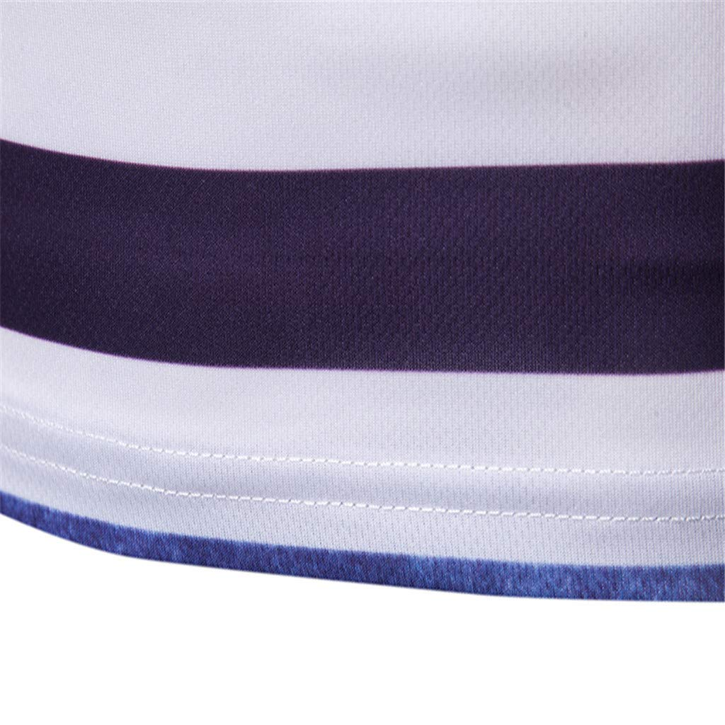 Duseedik Men/'s Fashion T-Shirt Summer Short Sleeve Stripe Painting Large Size Lapel Casual Top Blouse Shirts