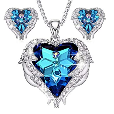 d47264981 Amazon.com: XDL Angel Wing Heart of Ocean Pendant Necklaces Studs Earrings  for Women Girls Made with Swarovski Crystals Jewelry Sets Gifts (Blue):  Jewelry