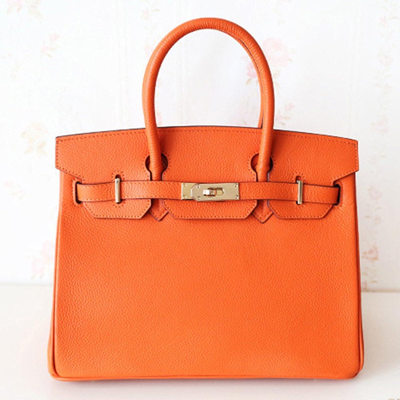バーキンタイプバッグ 高級本革のバーキンバッグ ハンドバッグ 9色 2サイズ [並行輸入品] B01CDS74XWオレンジ Lサイズ