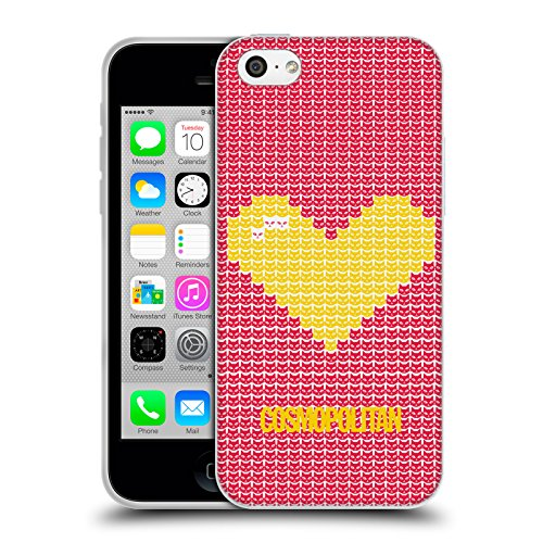Official Cosmopolitan Yellow On Red Pixel Heart Lovey Soft Gel Case for Apple iPhone 5c