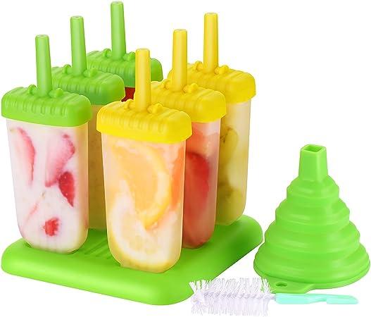 Lot de 6 sorbets avec Un Support HelpCuisine/® Ice Pop Mold//Moule /à Glace Moule Esquimaux realis/é en Plastique de qualit/é superieur sans BPA et approuv/é par la FDA 24 Mois de Garantie! Vert