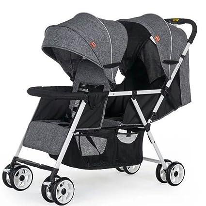 JM Carro de bebé El cochecito de bebé gemelo del asiento puede sentarse y el coche
