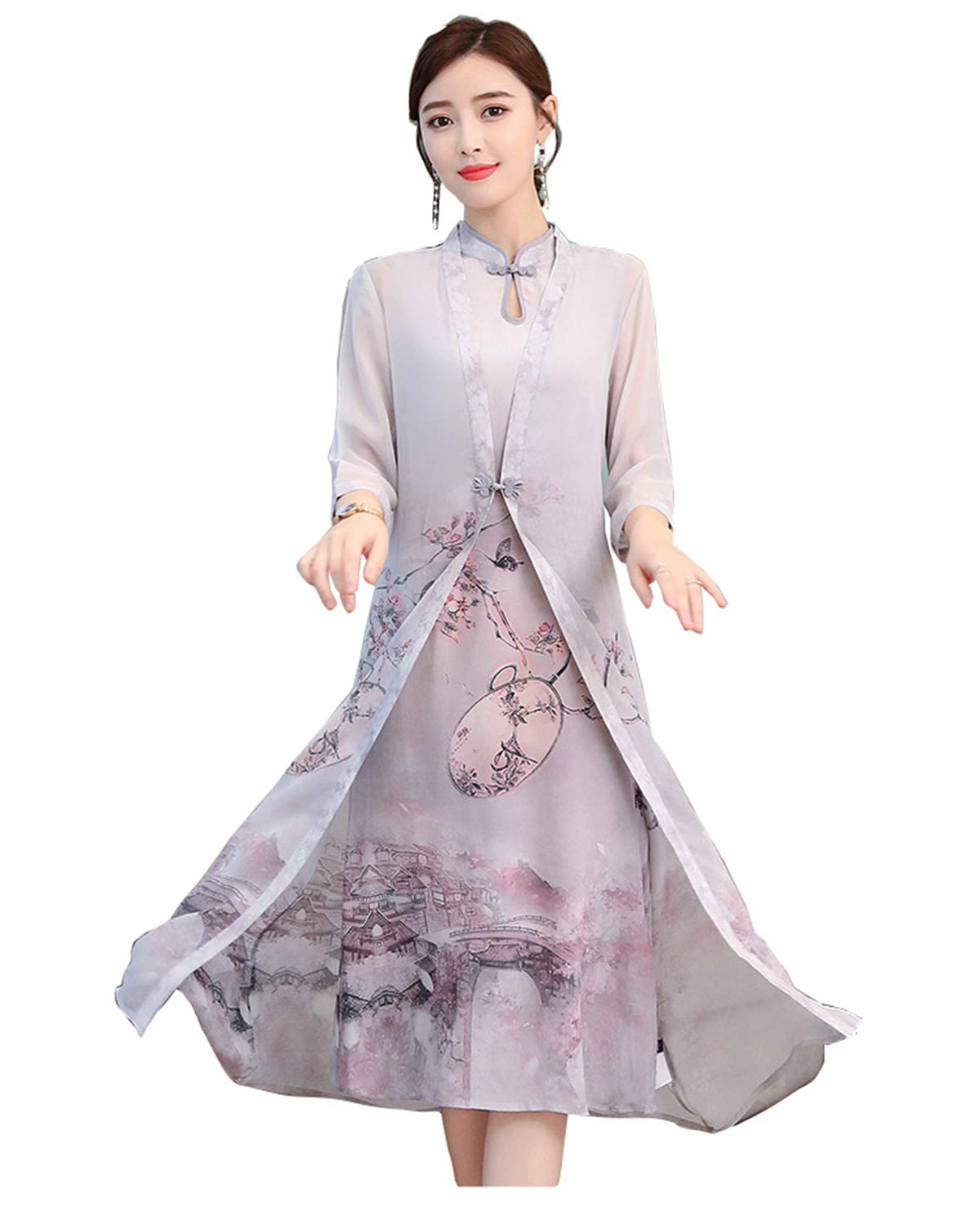 Aries Tuttle Two Pieces Chinese Style Women's Birthday Party Cheongsam Dress Retro Gown Qipao Hanfu Tang Suit with Robe Gray