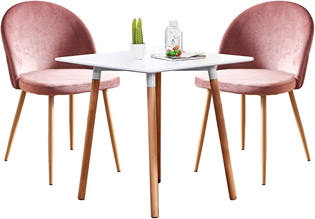 Ansley Hosho Small Dining Table And Chairs Set Of 2 3 Pieces Kitchen White Wooden Dining Room Table And 2 Pink Velvet Chairs For Small Apartment Amazon Co Uk Kitchen Home