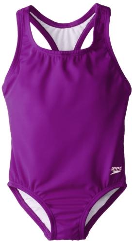 Speedo Little Girls'  Learn-To-Swim Solid Racerback, New Purple Haze, 6X - Girls 6 6x Swimsuit