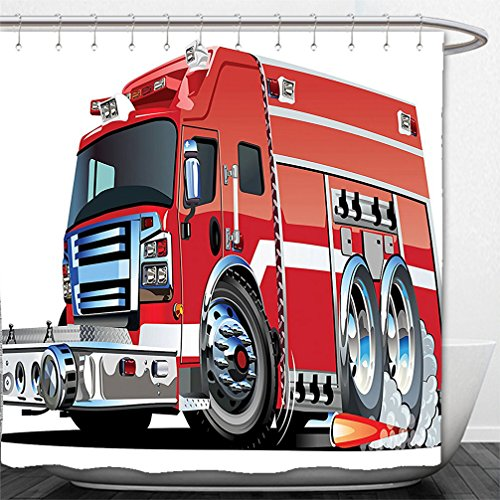 Interestlee Shower Curtain Cars Decor Big Fire Truck with Emergency Equipments Universal Safety Rescue Team Engine Cartoon Print Red Silver Prairie Fire Engine