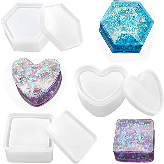 Ruda Box Moldes de resina, caja de joyería con forma de corazón molde de silicona resina herramienta para hacer joyas: Amazon.es: Hogar