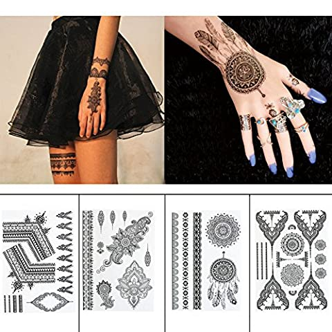 Black Henna Body Paints Temporary Tattoo Stickers Designs for Women Girls (Pack of 4 Sheets)