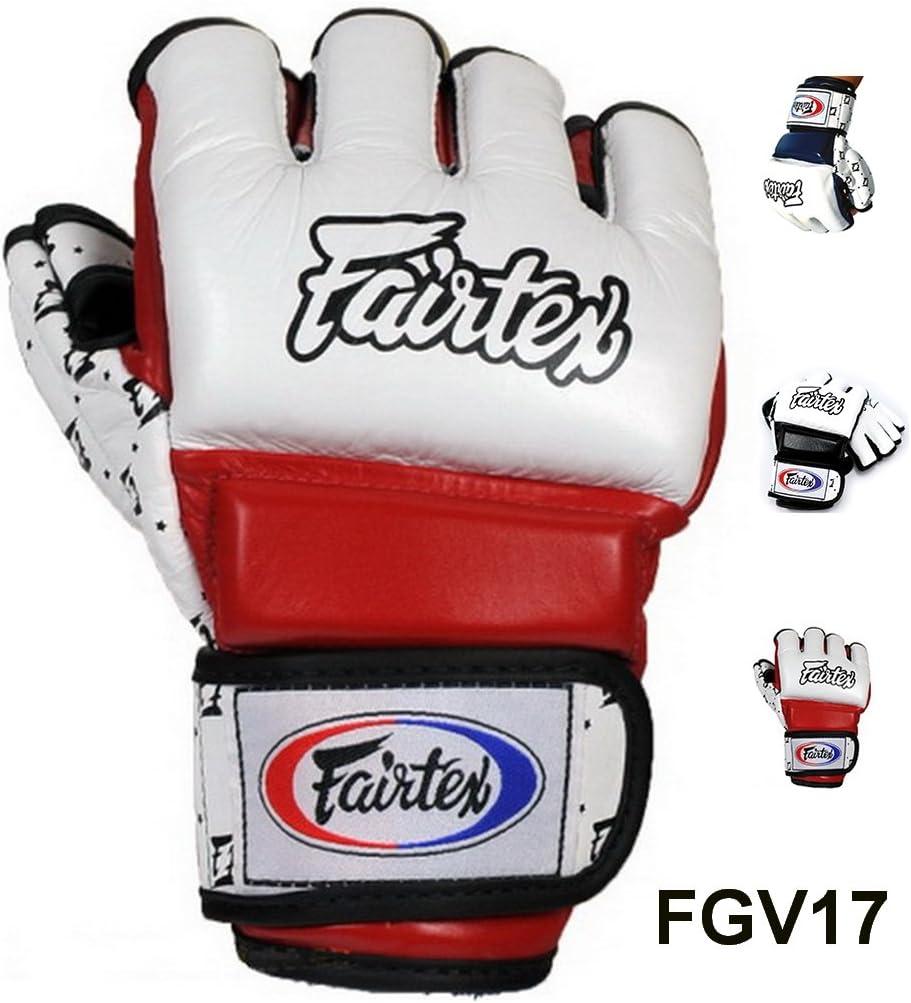 Fairtex fgv17スーパーSparring Gloves CombatキックボクシングMMA ホワイト/レッド Medium