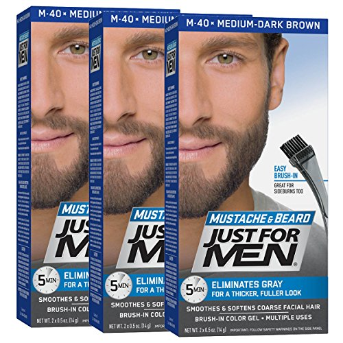 Just For Men Mustache & Beard Brush-In Color Gel, Medium-Dark Brown (Pack of 3, Packaging May Vary) (Best Way To Cover Gray Hair For Men)