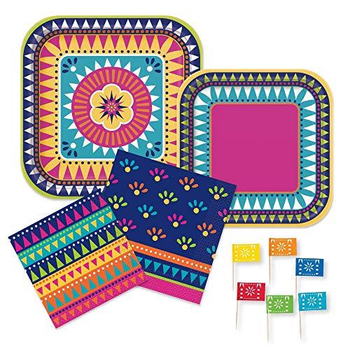 Boho Mexican Fiesta Cinco de Mayo Party Supplies Pack - Paper Plates, Napkins, Food Picks