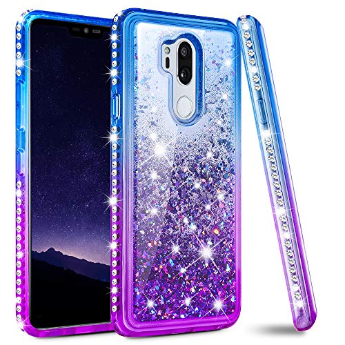 LG G7 Case, LG G7 Glitter Case, Ruky [Colorful Quicksand Series] Bling Diamond Sparkle Flowing Liquid Floating Protective Soft TPU Case for LG G7 ThinQ - Blue/Purple