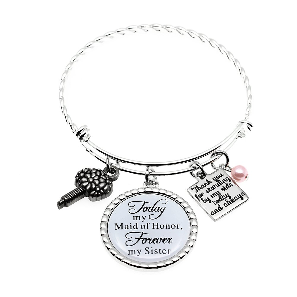 Ms.Clover Maid of Honor Gift, Bridesmaid Gift Always my Sister Bangle, Today My Maid of Honor Forever My Sister Gift Wedding Adjustable Bracelet