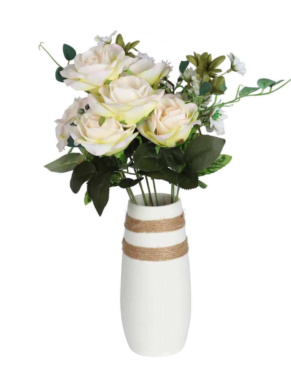 Caeser Archy White Flower Vase Handmade Modern Ceramic Vase Round Unique Rope Design for Home Decor Living Room, Office and Wedding(H8.6'' D2.9'') E-UK1801WCV01
