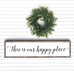bawansign This is Our Happy Place Framed Wood Sign Over The Bed Sign Over The Door Sign Rustic Home Decor Farmhouse Wall Art