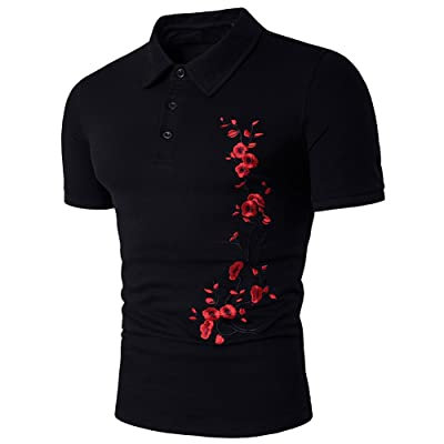 Cottory Men's Artistic Flower Embroidery Short Sleeve Polo T Shirt