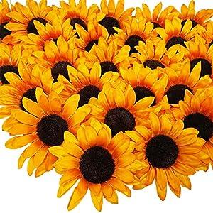 SUPLA 28 Pcs Sunflower Heads Bulk Artificial Flowers Fall Orange Sunflower Heads Faux Floral Gerber Daisies for Autumn Thanksgiving Wedding Table Centerpieces Wreath Hydrangea Decorations 5.1″ Wide