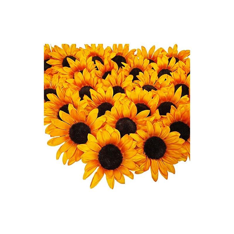 "silk flower arrangements supla 28 pcs sunflower heads bulk artificial flowers fall orange sunflower heads faux floral gerber daisies for autumn thanksgiving wedding table centerpieces wreath hydrangea decorations 5.1"" wide"