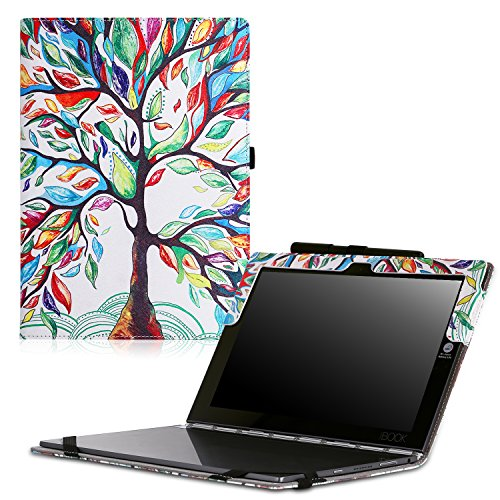 MoKo Lenovo Yoga Book Case, Ultra Compact Slim Folio Leather Cover Case for Lenovo Yoga Book YB1-X90F, YB1-X91F 10.1 Inch 2-in-1 Tablet/Laptop, Lucky Tree