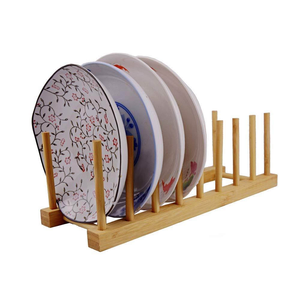 Amazon.com: Bandeja de madera de bambú, soporte para platos ...