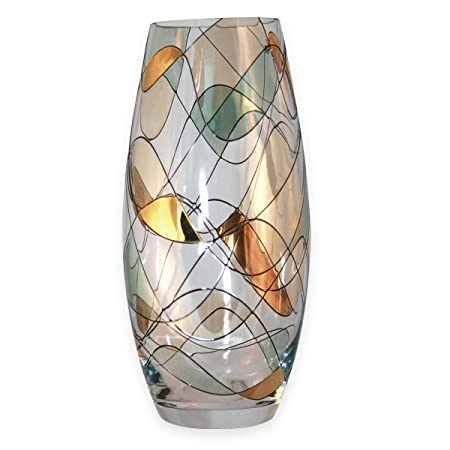 Nobile Glassware Gold Mosaic Vase Hand Crafted 225cm Tall