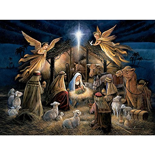 Bits and Pieces - 500 Piece Jigsaw Puzzle for Adults - in The Manger - 500 pc Religious Holy Nativity Jigsaw by Artist Ruane -