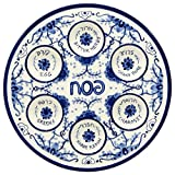 Passover Seder Plate for Pesach Food Ceramic 12'' Blue & White Delft Look