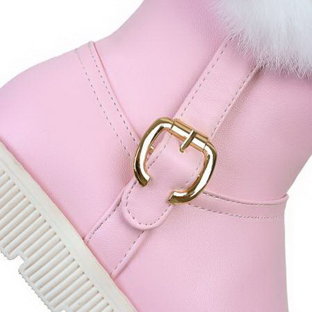 BalaMasa Mid-Calf Womens Fringed Mid-Calf BalaMasa Metal Buckles Urethane Boots ABL10635 B079335XWC Western 23644a