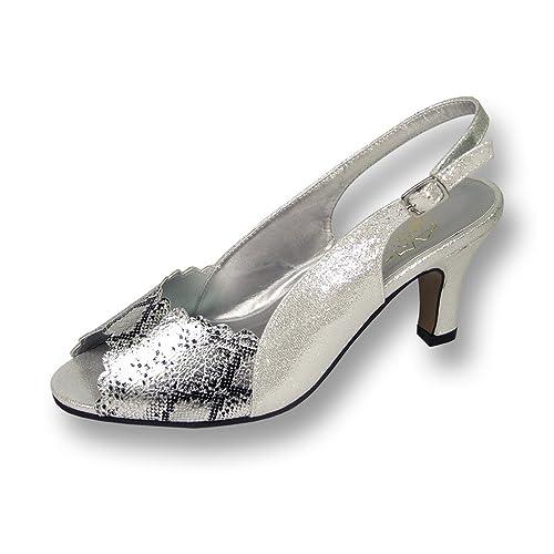 07b4893b8 Floral FIC Corina Women Wide Width Glitter Synthetic Fabric with Metallic  Snake PU Silver Pump 6