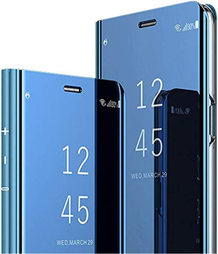 Galaxy S10 Plus Case Mirror Flip Cover Full Body Protection Mirror Mobile Phone Case Ultra Thin Polyurethane Mobile Phone Protective Clear View For Samsung Galaxy S10 Galaxy S10 Lite Blue Elektronik