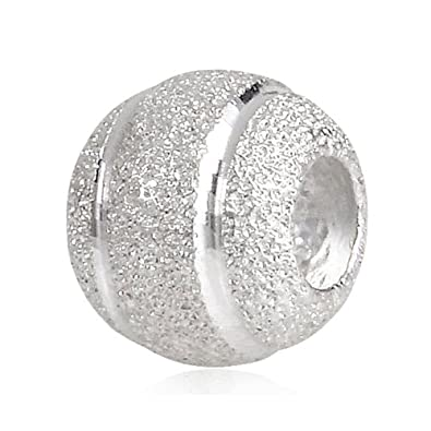 899132348 PHOCKSIN Annular Bead 925 Sterling Silver Charms Frosted Stardust Fit  Bracelets