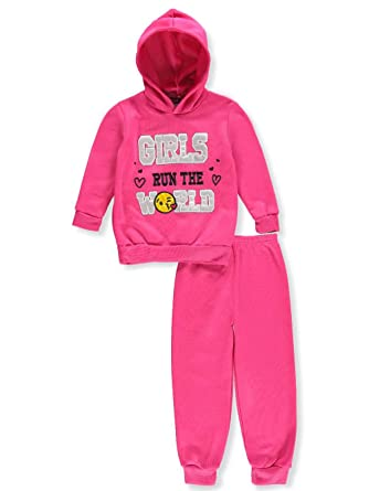5fd9c23b5e Angel Face Little Girls' Toddler 2-Piece Sweatsuit Pants Set - Fuchsia /Silver