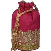 PrettyKrafts Traditional Velvet Pink Potli Bag for Women and Girls