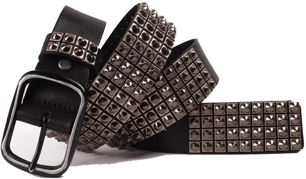 TnSok Correa de la Personalidad Unisex Personalidad Cinturón Punk de Cuero Hebilla de Palabra Japonesa Cinturón Masculino Punk Cinturón de Pico de Viento (Color : Black, Size : 115cm)