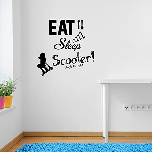 Stunt Scooters Eat Sleep Scoot Rule Sports Quote Wall Decorations Window Stickers  Wall Decor Wall Stickers Part 39