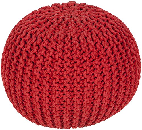 Surya MLPF-003 100-Percent Cotton Pouf, 20-Inch by 20-Inch by 14-Inch, Poppy