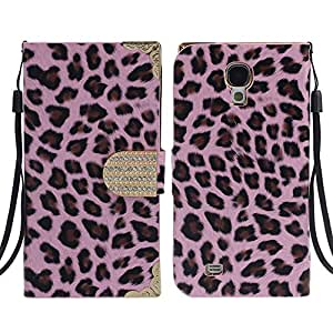 Coromose Pink Leopard Wallet Leather Case For Samsung Galaxy S4 i9500