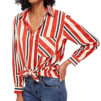 071957d6f03 Nacome Women Blouse Long Sleeve Striped Button T-Shirt Casual Button V-neck  Tops
