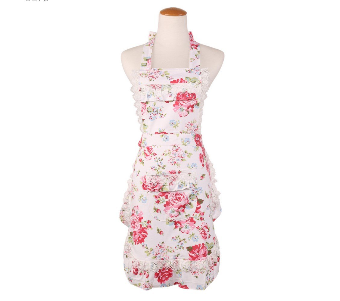 WoSiy Cotton Adjustable Apron Retro Lovely Lace Vintage Lady Women's Kitchen Fashion Aprons with Pockets For Cooking Baking Gardening By (White clove)