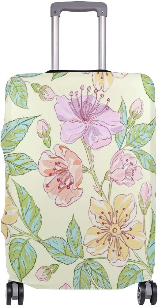 Travel Luggage Cover Pink Yellow Watercolor Flowers Pattern Suitcase Protector