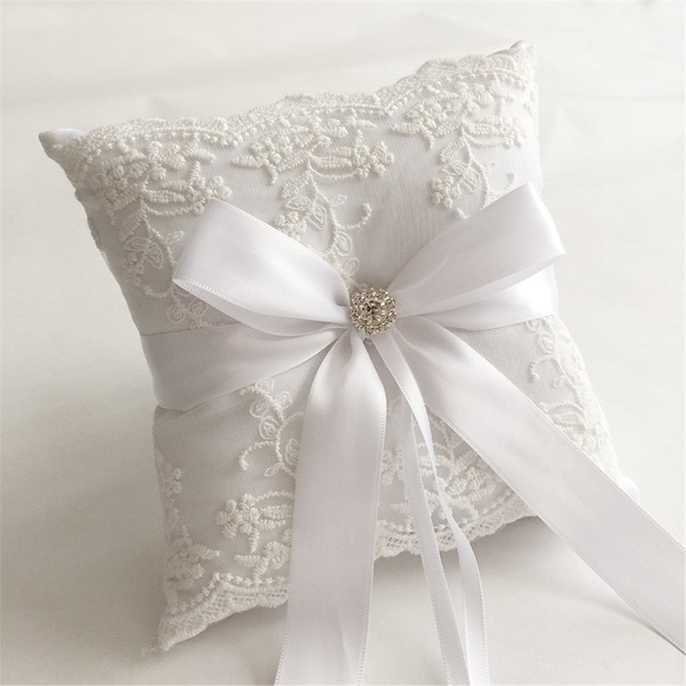 Hoxekle Ivory Satin Flower and Lace Rhinestone Wedding Ring Pillow Cushion Embroider Flower with Bow Ring Bearer for Beach Wedding Ceremony 18×18cm