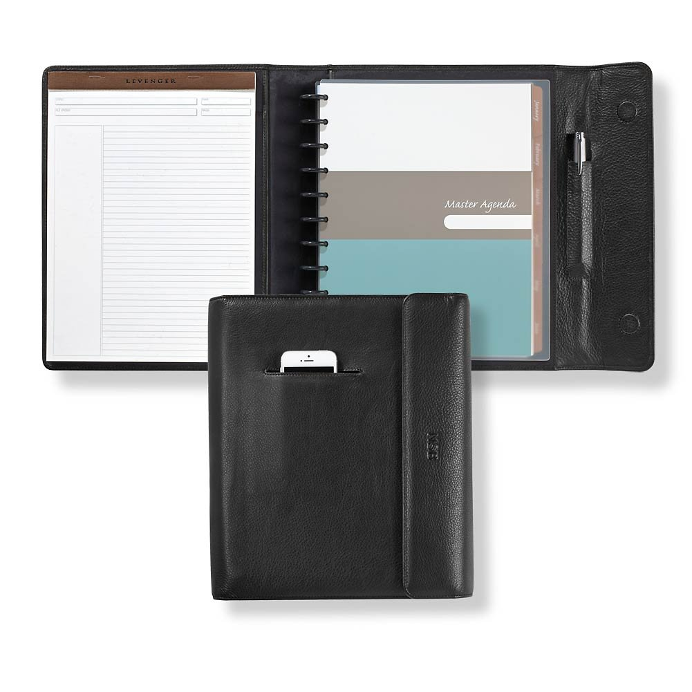 Levenger Circa Smart Planner Full-Grain Leather Portfolio, Letter, Black (AL12605 LTR NM)