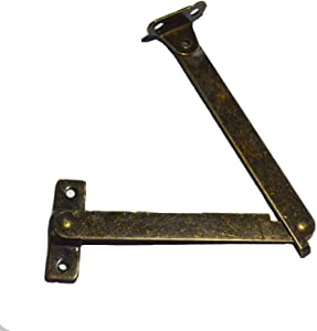 """4 PCS Bronze Folding Lid Support Hinges for Lid Display Furniture Support Stay Hinge Cabinet Cupboard Box Lift Up (Folded Size: Length:4-1/4"""", Width:7/16"""")"""