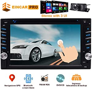 2 Din Car Stereo with Touch Screen Bluetooth Car Radio in Dash Car CD Player AM/FM Radio Receiver Support Free GPS Navigation Card&Backup Camera&AM FM RDS&Steering Wheel Control&Remote Control