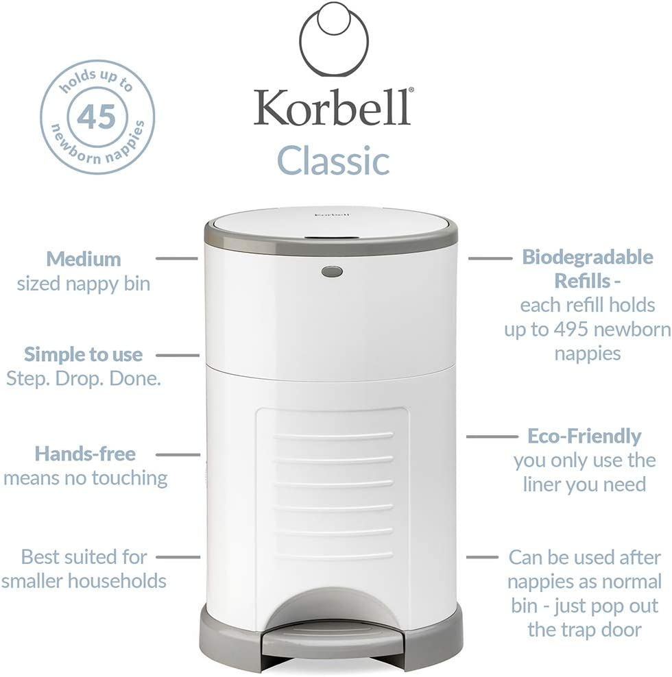 Odour Free /& Hands Free Korbell Plus Nappy Bin /& Disposable Liner Bundle Hygienic Includes 4 Packs of Biodegradable Liners Lasting Up to 72 Weeks